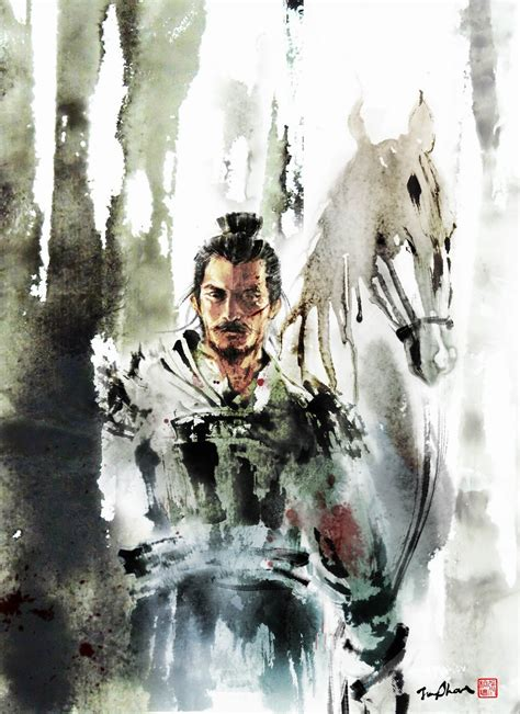 jungshan ink illustration wuxia magazine cover