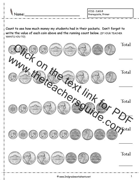 counting coins  money worksheets  printouts