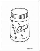 Peanut Butter Coloring Jar Abcteach Peanutbutter Trace sketch template