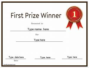 education certificates first prize winner With first prize certificate template