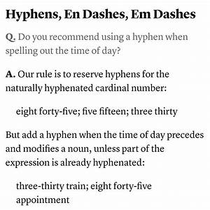 Time And Hyphens Via Chicago Manual Of Style  S
