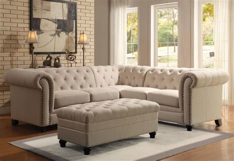 Roy Sectional Sofa 500222 Oatmeal Linen Blend Fabric By