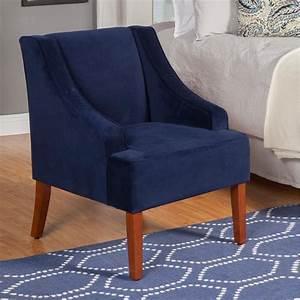 Homepop Swoop Arm Velvet Accent Chair Navy K6499 B215