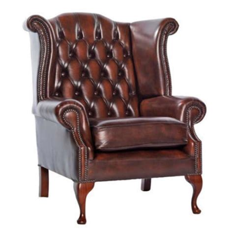 Icon Designs St Ives Scroll Wing Leather Armchair in Rust