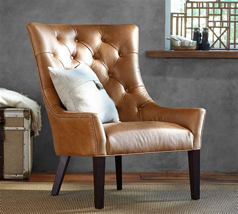 leather chair tufted leather chair pottery barn au