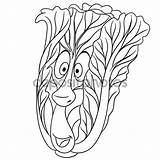 Cartoon Chinese Cabbage Coloring Patch Kool Depositphotos Doll Vegetable Eco St3 Gelukkig Kleurplaat Stockillustratie Character Stripfiguur Plantaardige Karakter Symbool Adobe sketch template