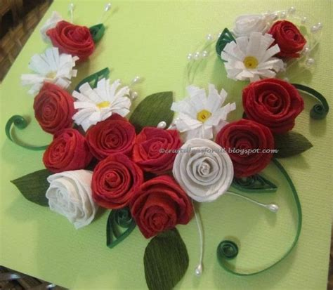 craft ideas   paper quilled rose  daisy wall art