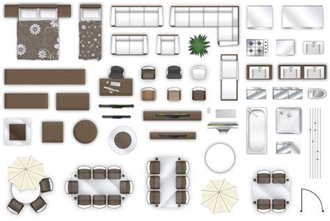 2d furniture floorplan top down view style 3d model