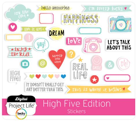digital project life high  edition scrapbook stickers