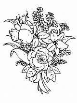 Flower Bouquet Coloring Pages Flowers Print Recommended sketch template