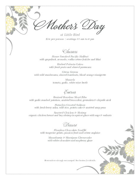 s day menu template menu for mothers day s day menus