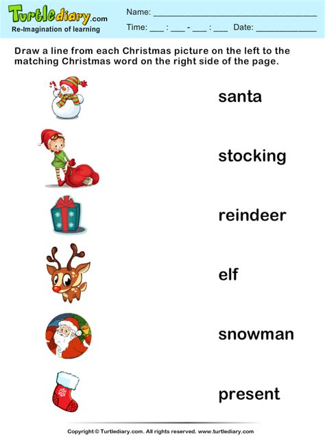 match christmas words  pictures worksheet turtle diary