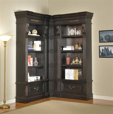 Furniture Large L Shaped Black Wood Bookcase With Drawers
