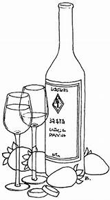 Wine Bottle Bottles Printable Wedding Coloring Pages Glass Patterns Drawing Glasses Rings Painting Embroidery Designs Template Champagne Beccy Place Quilling sketch template
