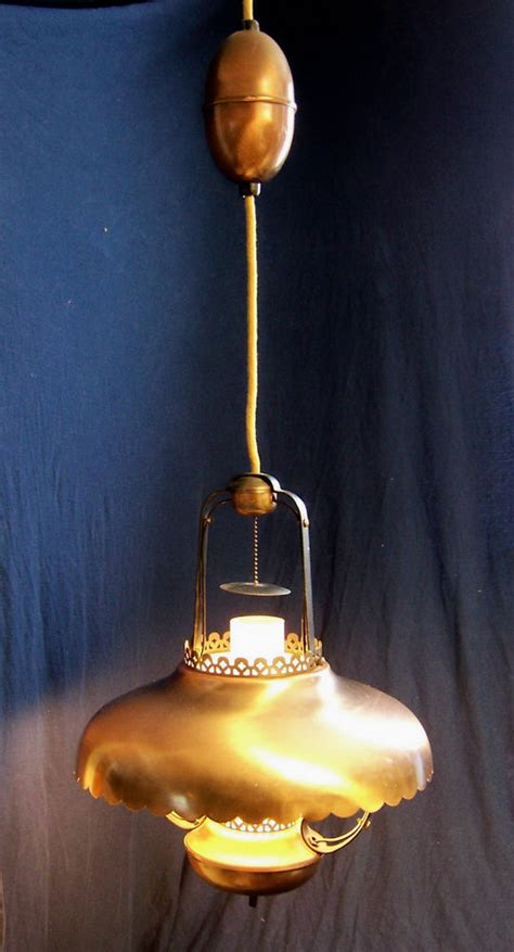 vintage big brushed brass copper ceiling light fixture