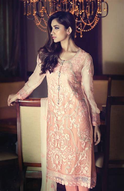 Buy Pink Embroidered Chinese Chiffon Dress By Maria B