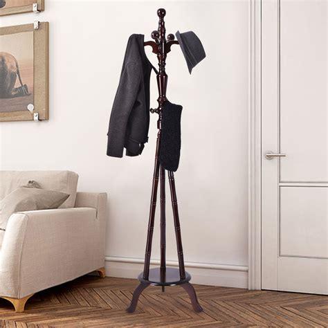 standing l walmart 73 quot free standing solid wood coat hat purse hanger tree