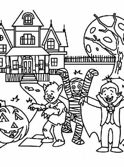 Coloring Halloween Pages Printable Treats Haunted Spooky