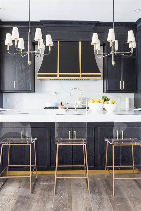 Gray Kitchen Island with Gold Counter Stools