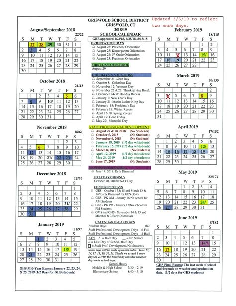 board approved academic calendar griswold public schools