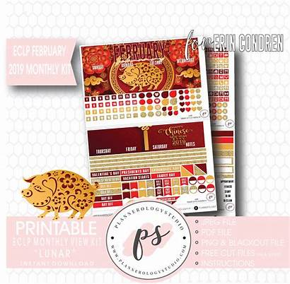 Lunar Chinese Printable Stickers Planner February Monthly