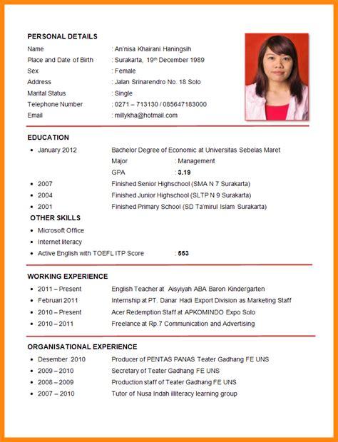 Resume Model For by Model Cv In