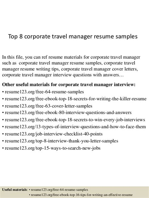 top 8 corporate travel manager resume sles