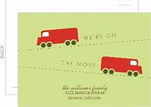 Green and red truck postcard moving announcement for Cheap moving announcements