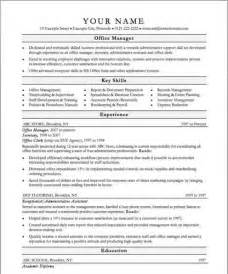 office manager resume sles free office manager sle resume template