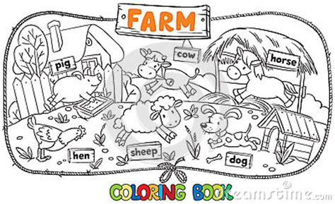 great coloring book  farm animals stock vector image