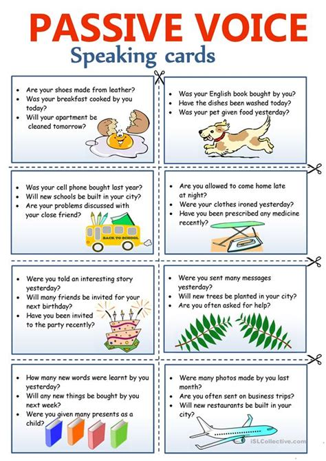 passive voice speaking cards english esl worksheets