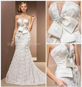 mermaid trumpet strapless chapel train chiffon satin With stretch wedding dress