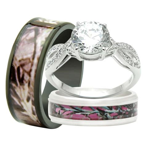his and hers titanium camo 925 sterling silver 3pc engagement wedding rings ebay