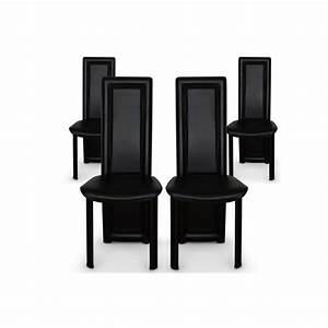 lot de 4 chaises salle a manger noires asya achat vente With meuble salle À manger avec chaise salle a manger pas cher lot de 6