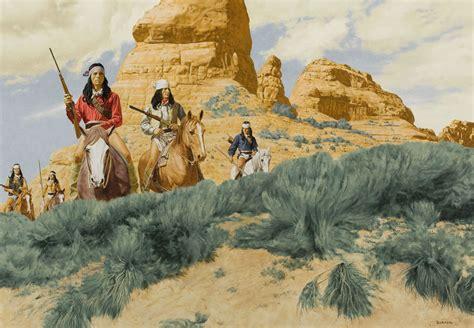 Indian drawing horses riders guns native american western