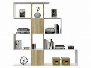 separation zig zag coloris blanc chene canadian vente de With meuble sejour design contemporain 6 separation zig zag vente de bibliothaque et vitrine