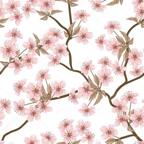 Bibit Collagen Japanese Cherry cherry blossom vector background seamless flowers
