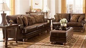 traditional living room with ashley furniture dark brown With brown leather sectional sofa ashley furniture