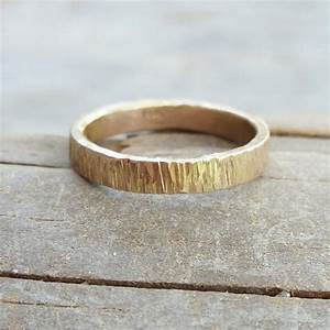 3mm Wide 14k Wood Grain Wedding Band For Men Or By Brightsmith