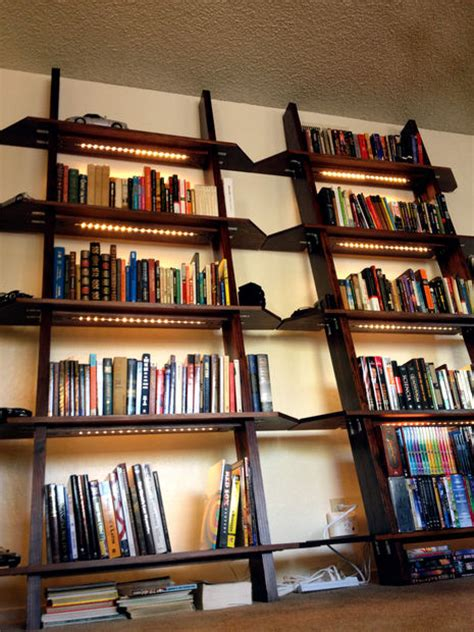Bookcase Lighting Led - leaning bookshelves with led lighting
