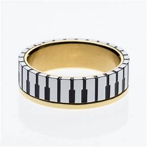 7mm wide men women39s 18k gold plated music piano keyboard With piano wedding ring