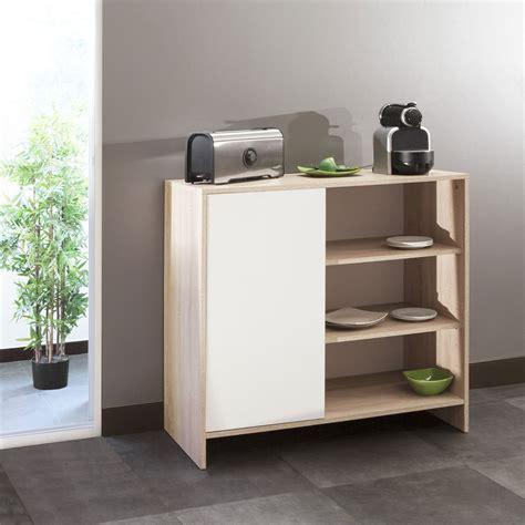 meuble cuisine cagne meuble bas de cuisine 1 porte 3 niches 95 cm blanc chêne