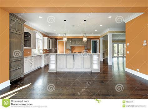 Kitchen with orange walls stock photo. Image of decorate