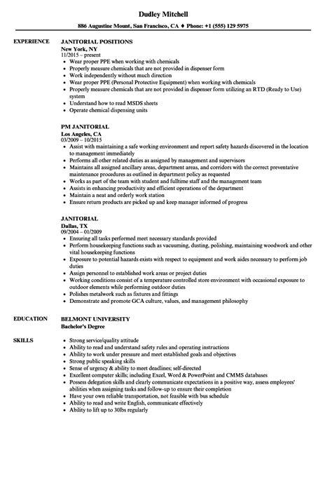 Janitor Resume by Janitorial Resume Sle Bijeefopijburg Nl