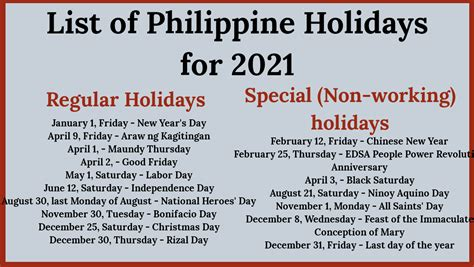 philippine holidays  list  regular special