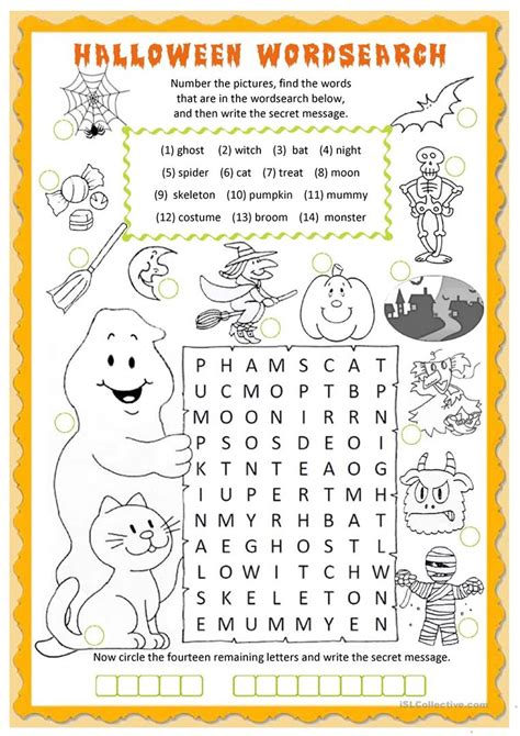 halloween wordsearch worksheet  esl printable