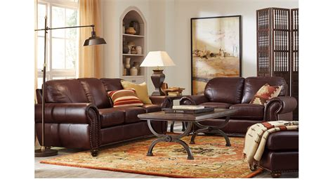 229999 Brockett Brown Leather 3 Pc Living Room
