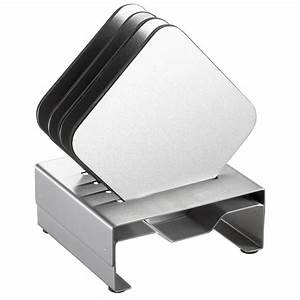 Visol pascal stainless steel square coaster set with for Furniture coasters home depot
