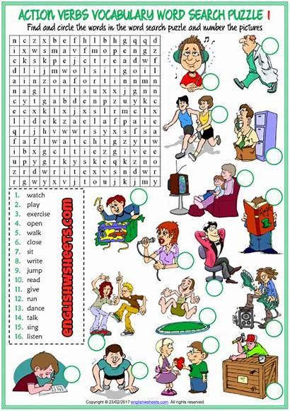 Action Verbs Word Esl Puzzle Worksheets Ingles