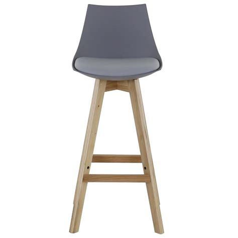 chaise de bar grise chaise de bar style contemporain grise et piétement chêne